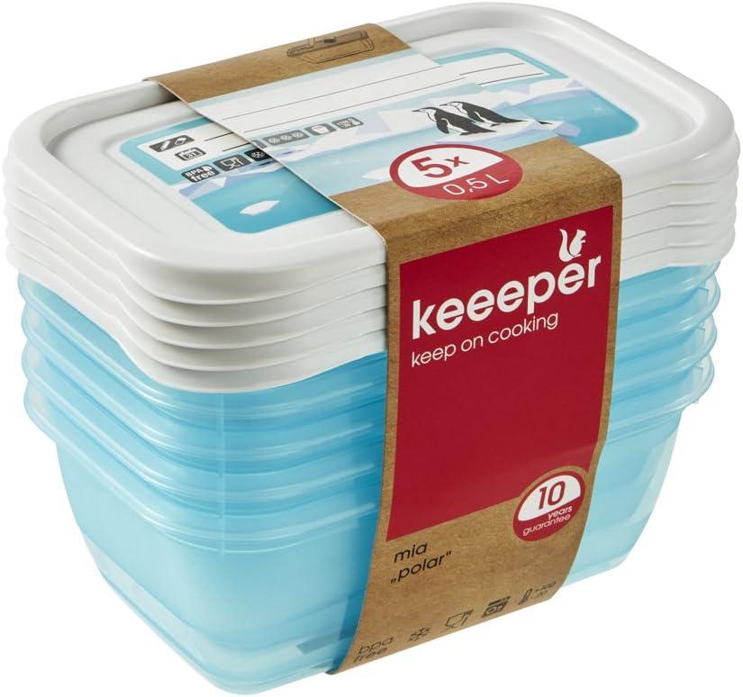keeeper Tiefkühldosenset 5-teilig, Wiederbeschreibbarer Deckel, 5 x 500 ml, 5X 500 Einheiten*